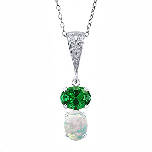 Gem Stone King 3.22 Ct Oval Green Simulated Emerald White Simulated Opal 925 Sterling Silver Pendant ()