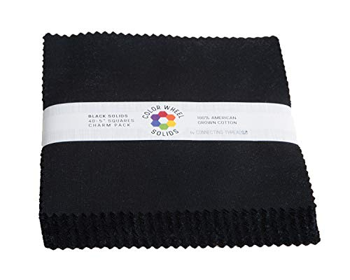 - Connecting Threads Color Wheel Precut Quilting Fabric Bundle (Black - 5