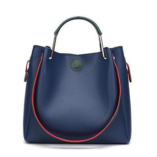 VINICIO Women's Fresh Simple Joker Soft PU Leather Bucket Bag Shoulder Bag Handbag(Blue) - Whiting & Davis Patent Leather Clutch