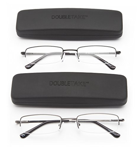 DOUBLETAKE: 2 Pairs of Classic Spring Hinged Half Rim Reading Glass with Slim Hard Case for Men and - Mens Glasses Reading 2.50