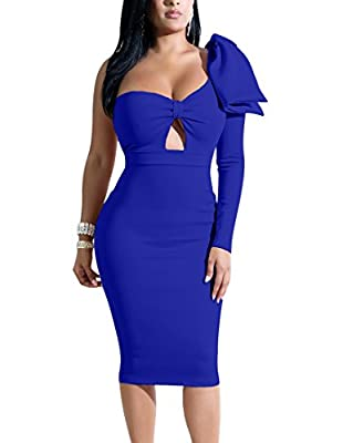 Mokoru Women's Sexy Bow One Shoulder Long Sleeve Bodycon Evening Party Midi Club Dress