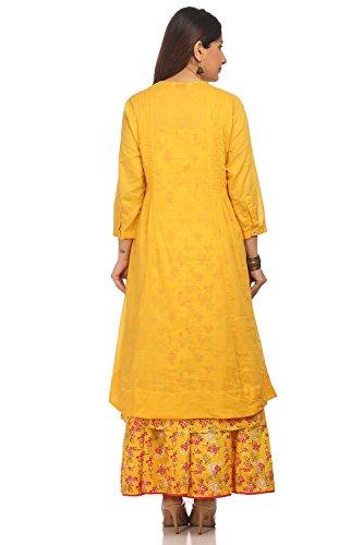 BIBA Women's Yellow Front Open Cotton Kurta Size 34 by Biba (Image #4)