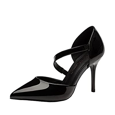 Ryse Women's Fashionable Classic Pure Color Leather Elegant Temperament High Heels Pointy Shoes