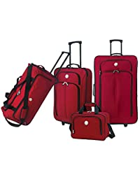 Travelers Club Luggage EVA12704600 Euro Value II Collection, 4-Piece Travel Set, Red