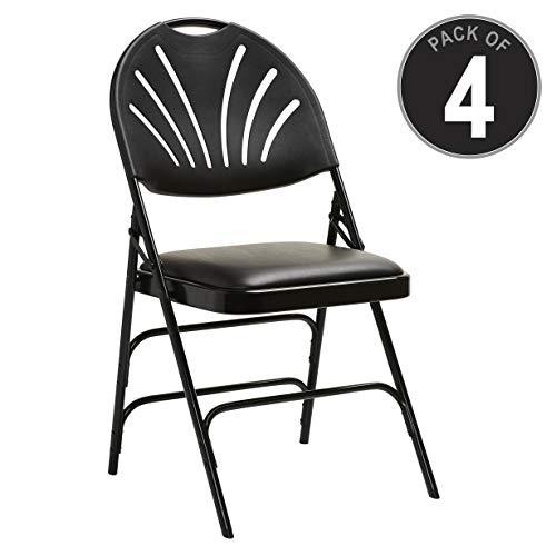 (Samsonite XL Series Folding Chair (4-Pack) Black Commercial Grade Fanback Design, Padded Steel & Vinyl Seat (51659-1050))