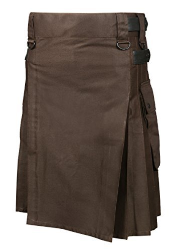 Scottish Brown Utility Kilt For Men (Belly Button Size 48)