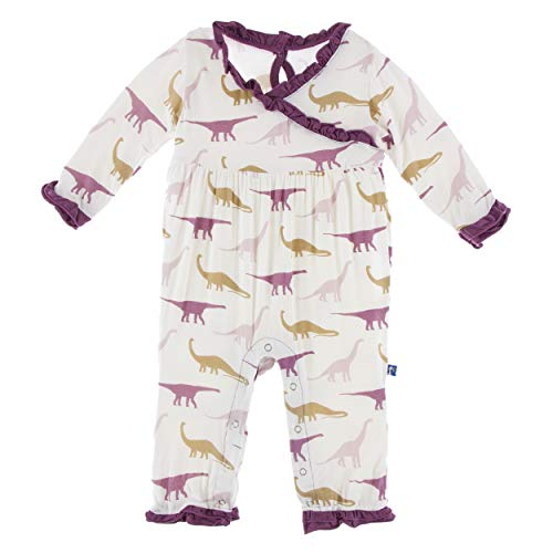 (Kickee Pants Little Girls Print Long Sleeve Kimono Ruffle Romper - Natural Sauropods, 3-6 Months)