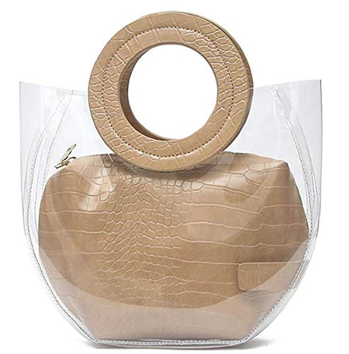 Caistre Women's Crocodile Pattern Waterprof Clear Tote Beach Transparent Shoulder Crossbody Bag Jelly Handbag (Khaki)