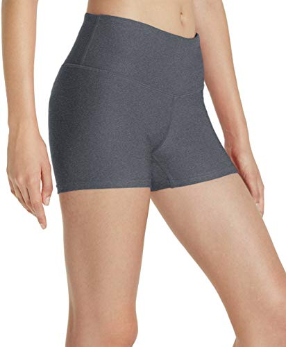 (TSLA Workout Running 4 Way Stretch Athletic Non See-Through Yoga Shorts with Pockets, Yogabasic Thick 3in(fys01) - Heather Charcoal, Medium (Size 8-10_Hip39-41 Inch))