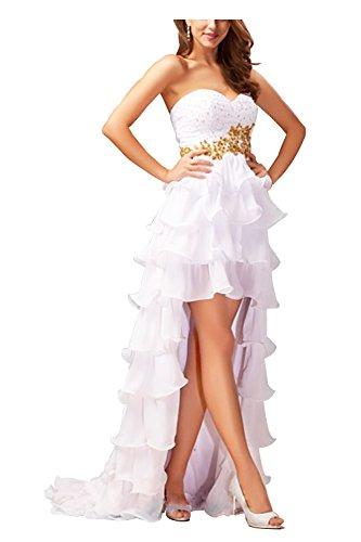 UTAMALL Strapless Sweetheart Beaded Applique Prom Dress Hi-lo Sweep Train Evening Gown Dress