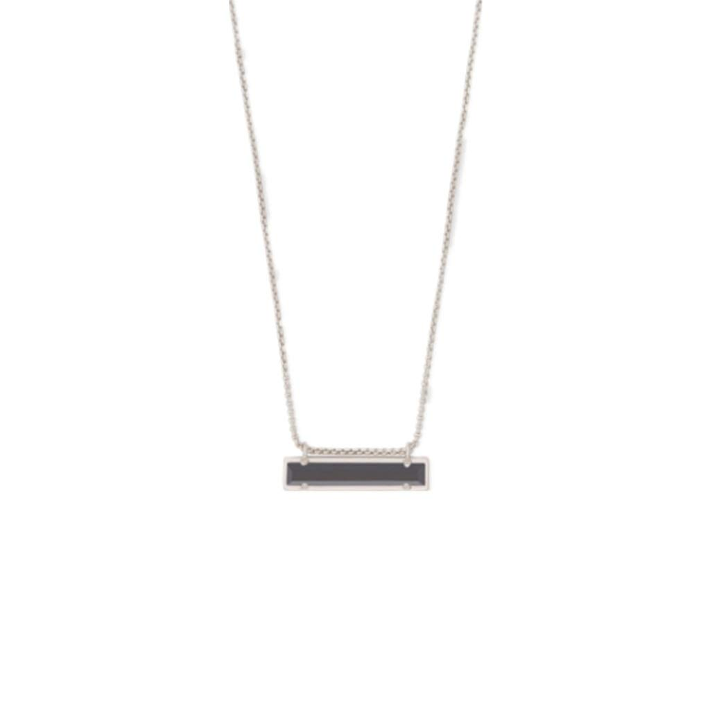 Necklace Black Silver Bar Style Square Geometric Pure Copper electroplated Gold Black Glass Necklace Pendant SLZT