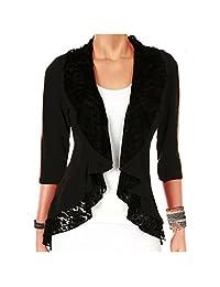 Funfash Plus Size Women Black Lace Cardigan Sweater Jacket Shrug Top Made in USA