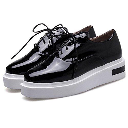 Black Shoes Wedge 6028 TAOFFEN Platform Women's Lace up xZ4fZY
