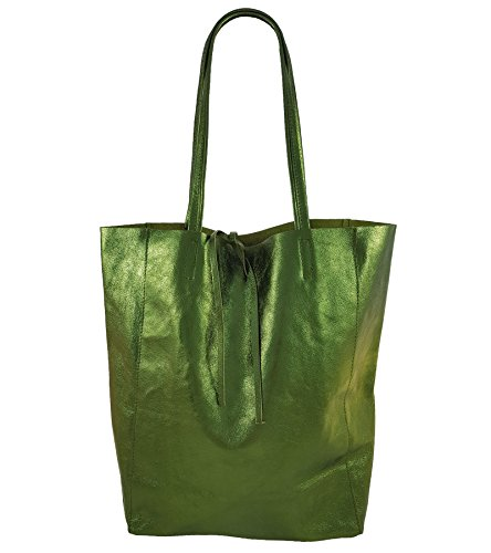 Tote Women's Green Italy in FreyFashion Bag Metallic Made qwYtKI