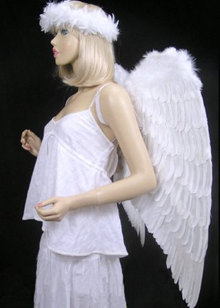 FashionWings (TM Archangel XL White Costume Feather Wings & Halo Adults Unisex by FashionWings (Image #5)