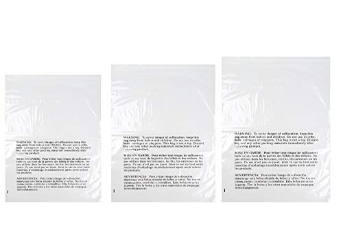 Poly Bags with Suffocation Warning 16x22, 20x24, 24x28 - X-Large Combo Pack of 150 - Clear Poly Bags by Retail Supply Co - Extra Strong - 28 Seal
