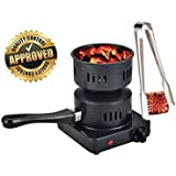 HM Electric Coal Charcoal Starter Burner + Free Tongs! - Hookah, Shisha, Nargila, BBQ, Fire starter