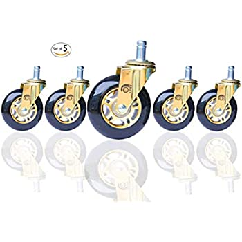 Rollerblade Caster Wheels for Office Chair Heavy Duty and Safety for Hardwood Floor 3 inch No Brake Gold and Black(Set of 5)