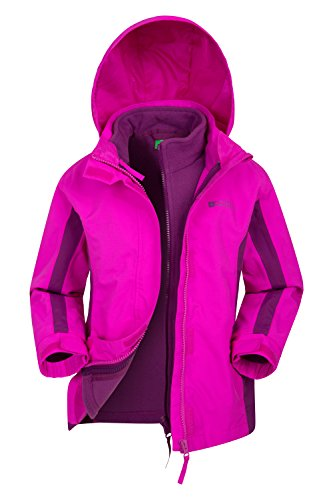 Mountain Warehouse Lightning 3 in 1 Kids Waterproof Rain Jacket Bright Pink 7-8 Years