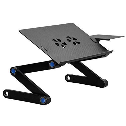 Quantum Paper Tray - Portable Laptop Stand- Portable Laptop Desk Foldable Laptop Stand Adjustable Laptop Table Ergonomic Bed Tray with Two CPU Cooling Fans & Extra Mouse Pad Side Can Used on Bed, Sofa, Table top, Carpet,