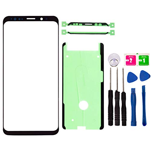 Original Replacement Repair Front Outer Top Glass Lens Cover Screen for Samsung Galaxy S8 Plus SM-G955 Mobile Phone Curved Surface Parts and Adhesive Tools (No LCD and Touch Digitizer) (Black) (Samsung Galaxy Note 2 Lcd Screen Price)