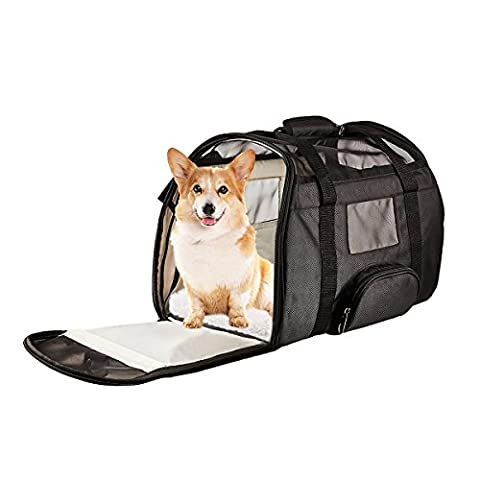 Juxcity Pet Carrier Soft Sided & Side and Top Mesh Pet Travel Carriers Portable Bag for Puppies and Small Pets, Airline-Approved ()