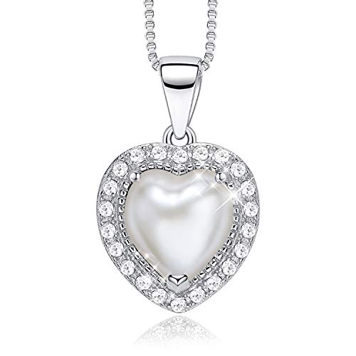 CDE S925 Sterling Silver Birthstone Necklace for Women with Pearl Pendant Jewelry for Women (June)