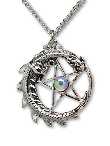 Mystical Dragon Encircling Pentacle Medieval Renaissance Pendant Necklace