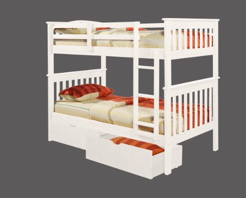 DONCO Bunk Bed Twin over Twin Mission Style in White with Drawers - Mission Style 3 Drawer