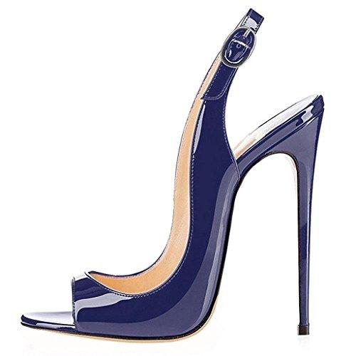yBeauty Women's Slingback Sandals Peep Toe Heels High Heel Patent Leather Pumps Evening Shoes Cute Stilettos Navy US9