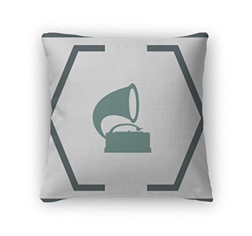Gear New Throw Pillow Accent Decor, Gramophone Icon Record Player Sign, 20