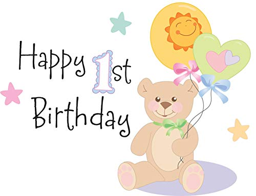 Happy 1st Birthday Teddy Bear Balloons Stars Edible Cake Topper Image ABPID13213 - 1/4 sheet