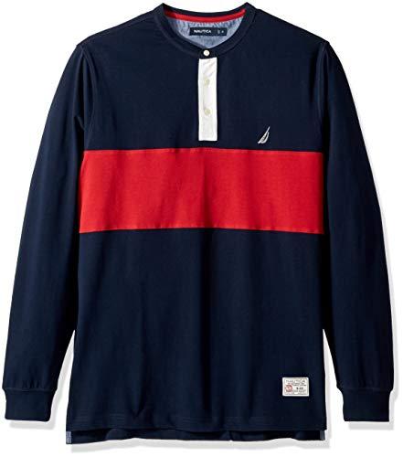 Nautica Men's Big and Tall Long Sleeve Woven Collar Blocked Henley Shirt, Navy, 3X-Large