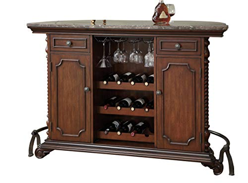 2-door 2-drawer Bar Unit with Marble Top Warm Brown (Bar Top Cabinet)