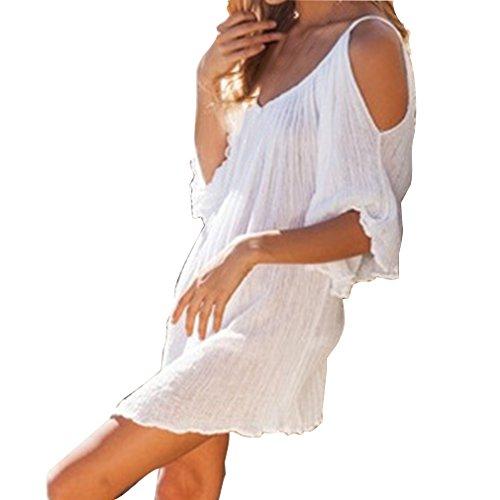 Damen Strandponcho Oversize Strandkleider Lose Tunika Blusenkleider Solide Farben Sommer Überwurf Kaftan Strandkleid Bikini Cover Up Weiß B