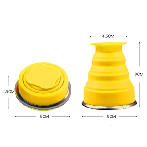 Dressupbeauty Scalable Hiking Water Portable Bottle Silicone Telescopic Portable Cups For Travelling Collapsible Folding Cup (Yellow, Normal) by Dressupbeauty (Image #1)