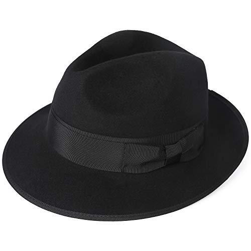 Janetshats Men's Dress Wool Felt Fedora Hat Roll up Brim Gangster Bow Belt Hats -