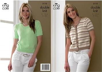King Cole Ladies Short-sleeve Cardigan & Sweater Knitting Pattern ...