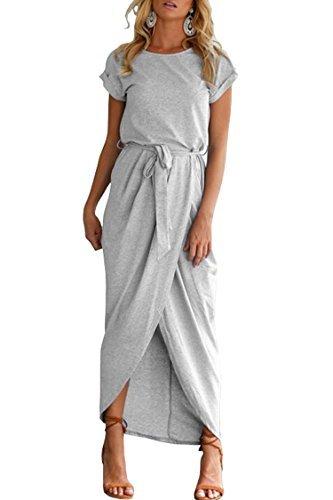 Herose Ladies Leisure Wear Light Weight Sporty Long Outfits Tea Length Dress L Grey