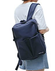 H&N Women Fashion Leather Backpack Back to School Season Teenagers Casual Student School Bag Daypack Darkblue
