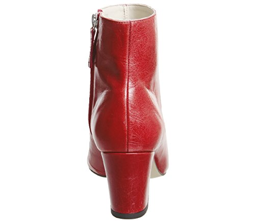 Aubergine Red Curved Boots Ankle Heel Office Leather dpXqwH1pOF