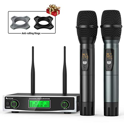 Wireless Microphone System,FIFINE Two Handheld Dynamic Cordless Mic and Dual Channel Receiver, 50 Selectable UHF Frequency for Karaoke Singing Party,Church,DJ,Wedding,School Presentation.(K040)