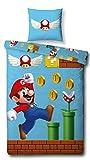 Character World Super Mario Reversible Bed Linen Set, 135 x 200 cm, 80 x 80 cm, 100% Cotton, Games, 100% Cotton Linen, blue, 135 x 200 cm