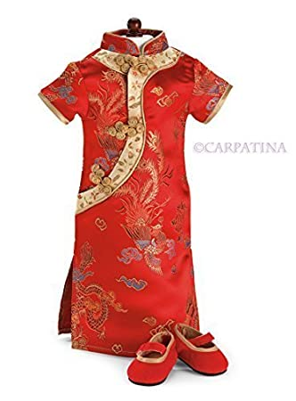 Amazon.com: Chinese Red Cheongsam Dress & Shoes - Fits 18 inch ...
