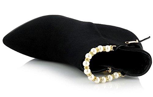 Reißverschluss Herbststiefel Schwarz High Hochzeit Heels Brautschuhe Schuhe Stiefel Frauen billige Perle Frauen Stiefel KUKI rote qT5Adxa5