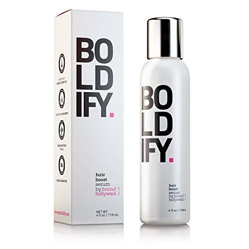 BOLDIFY 3X Biotin Hair Growth Serum - Get Thicker Hair Day One - Natural 3-in-1 Hair Regrowth Serum, Leave-In Conditioner & Blow Out Thermal Protectant for Thicker, Longer, Stronger Hair (4 Ounces) (Best Products To Add Volume To Hair)