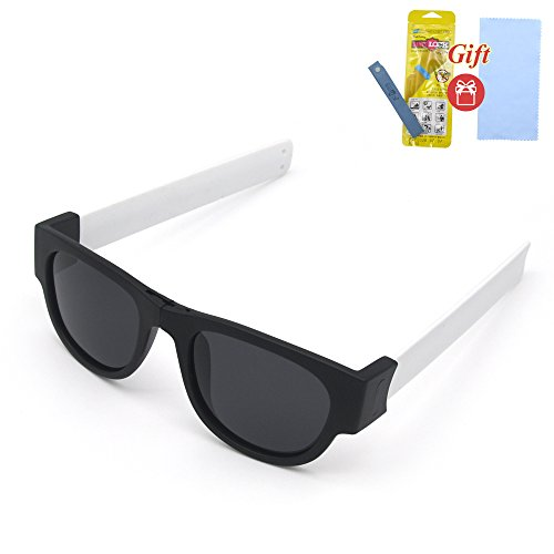 Fashion Folding Sunglasses with a clip. Sport sunglasses for beach and summer (White legs, - Up Sunglasses Fold