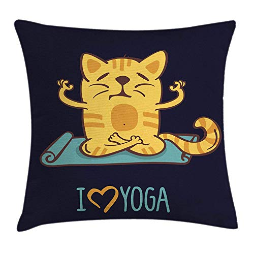 Animal Throw Pillow Cushion Cover, I Love Yoga Theme Cute Cartoon Cat Exercise Mat Lotus Position, Decorative Square Accent Pillow Case, 18 X 18 Inches, Dark Blue Light Blue Yellow