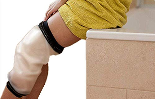 Knee Shower Cover, Adult Waterproof TPU Shower & Bath Bandage and Cast Protector for Knee Watertight Protection to Broken Knee Wound, Burns 100% ()