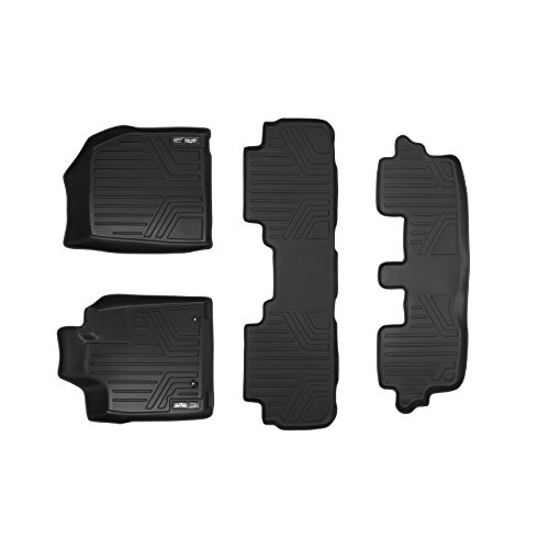 SMARTLINER Floor Mats 3 Row Liner Set Black for 2008-2013 Toyota Highlander Hybrid Only